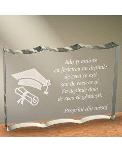 Cadou personalizat trofeu plexiglas ondulat - Fericirea depinde de ce gandesti | Ghizbi.ro