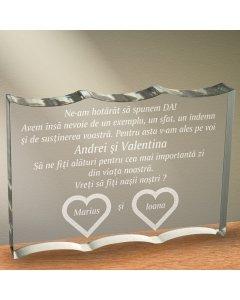 Cadou personalizat trofeu plexiglas ondulat - Vreti sa fiti nasii nostri | Ghizbi.ro