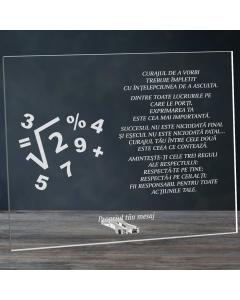 Cadou personalizat placheta din plexiglas - Matematica este partea exacta a gandirii | Ghizbi.ro