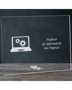 Cadou personalizat placheta din plexiglas - Profesor de informatica | Ghizbi.ro