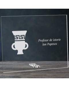 Cadou personalizat placheta din plexiglas - Profesor de istorie   Ghizbi.ro