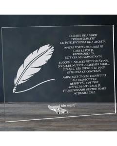 Cadou personalizat placheta din plexiglas - Suntem capodopera existentei noastre | Ghizbi.ro