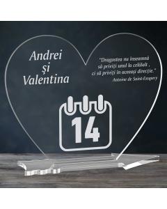 Cadou personalizat placheta plexiglas inima - 14 februarie | Ghizbi.ro