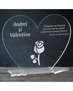 Cadou personalizat placheta plexiglas inima - Boboc de floare   Ghizbi.ro