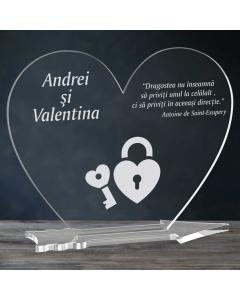 Cadou personalizat placheta plexiglas inima - Cheia inimii mele   Ghizbi.ro