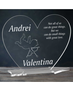 Cadou personalizat placheta plexiglas inima - Dovada de iubire | Ghizbi.ro