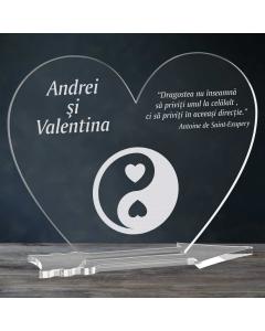 Cadou personalizat placheta plexiglas inima - Echilibru in dragoste   Ghizbi.ro