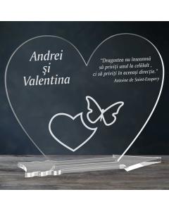 Cadou personalizat placheta plexiglas inima - Emotii de iubire | Ghizbi.ro