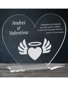 Cadou personalizat placheta plexiglas inima - Inima inger   Ghizbi.ro