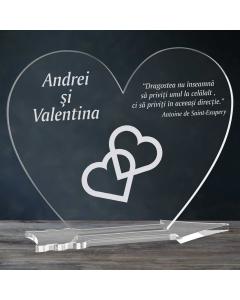 Cadou personalizat placheta plexiglas inima - Inimi legate   Ghizbi.ro