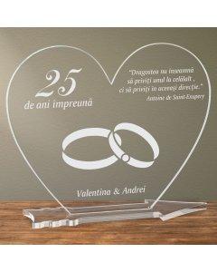 Cadou personalizat placheta plexiglas inima - Nunta de argint | Ghizbi.ro