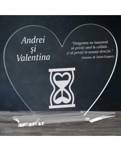 Cadou personalizat placheta plexiglas inima - Timp pentru iubire   Ghizbi.ro