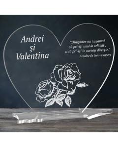 Cadou personalizat placheta plexiglas inima - Trandafir | Ghizbi.ro