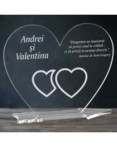 Cadou personalizat placheta plexiglas inima - Unul langa celalalt | Ghizbi.ro