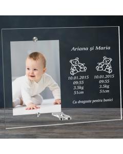 Cadou personalizat rama plexiglas - Gemenii sunt o binecuvantare | Ghizbi.ro