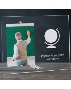 Cadou personalizat rama plexiglas - Profesor de geografie   Ghizbi.ro