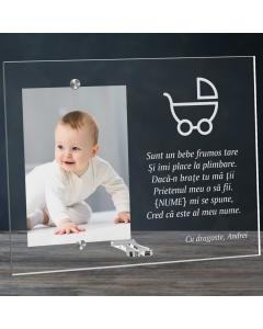 Cadou personalizat rama plexiglas - Sunt un bebe frumos tare | Ghizbi.ro