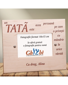 Cadou personalizat rama din lemn - Ce este un tata | Ghizbi.ro
