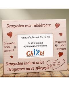 Cadou personalizat rama din lemn - Dragostea este rabdatoare | Ghizbi.ro