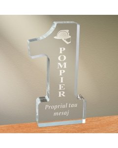 Cadou personalizat trofeu plexiglas cifra - Cel mai bun pompier | Ghizbi.ro