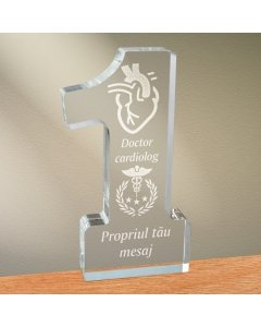 Cadou personalizat trofeu plexiglas cifra - Doctor cardiolog   Ghizbi.ro