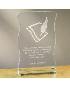 Cadou personalizat trofeu plexiglas cu suport - Limba romana nu se pierde | Ghizbi.ro