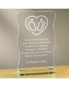 Cadou personalizat trofeu plexiglas cu suport - Nasii o sa-l crestineze | Ghizbi.ro