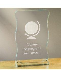 Cadou personalizat trofeu plexiglas cu suport - Profesor de geografie   Ghizbi.ro