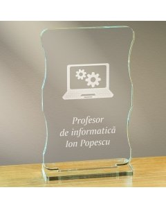 Cadou personalizat trofeu plexiglas cu suport - Profesor de informatica | Ghizbi.ro