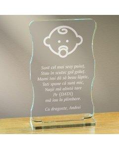 Cadou personalizat trofeu plexiglas cu suport - Sunt cel mai sexy puiut | Ghizbi.ro