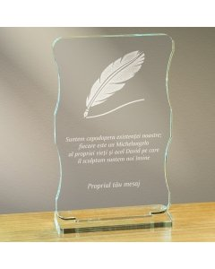 Cadou personalizat trofeu plexiglas cu suport - Suntem capodopera existentei noastre | Ghizbi.ro