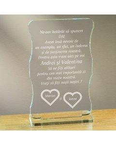 Cadou personalizat trofeu plexiglas cu suport - Vreti sa fiti nasii nostri | Ghizbi.ro