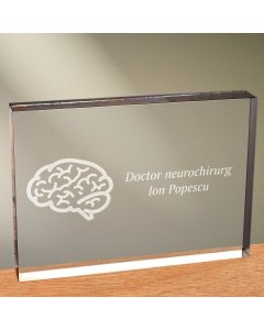 Cadou personalizat trofeu plexiglas dreptunghiular - Doctor neurochirurg | Ghizbi.ro