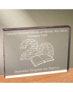 Cadou personalizat trofeu plexiglas dreptunghiular - Dupa 20 de ani | Ghizbi.ro
