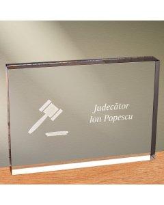 Cadou personalizat trofeu plexiglas dreptunghiular - Judecator   Ghizbi.ro