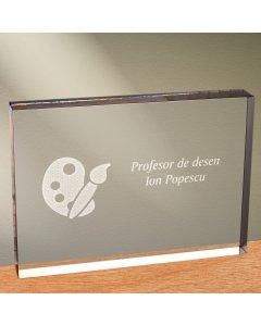 Cadou personalizat trofeu plexiglas dreptunghiular - Profesor de desen | Ghizbi.ro