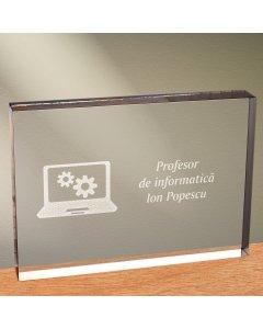 Cadou personalizat trofeu plexiglas dreptunghiular - Profesor de informatica | Ghizbi.ro