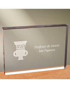 Cadou personalizat trofeu plexiglas dreptunghiular - Profesor de istorie   Ghizbi.ro