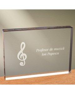 Cadou personalizat trofeu plexiglas dreptunghiular - Profesor de muzica | Ghizbi.ro
