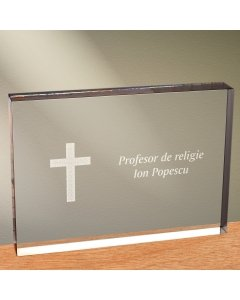 Cadou personalizat trofeu plexiglas dreptunghiular - Profesor de religie   Ghizbi.ro