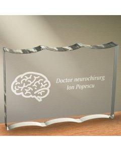 Cadou personalizat trofeu plexiglas ondulat - Doctor neurochirurg | Ghizbi.ro