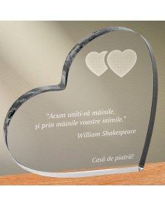Cadou personalizat trofeu plexiglas inima - Uniti-va inimile   Ghizbi.ro