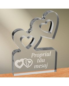 Cadou personalizat trofeu plexiglas inimi - Te iubesc | Ghizbi.ro