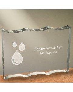 Cadou personalizat trofeu plexiglas ondulat - Doctor hematolog | Ghizbi.ro