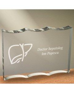 Cadou personalizat trofeu plexiglas ondulat - Doctor hepatolog   Ghizbi.ro