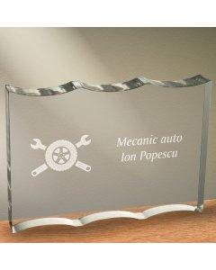 Cadou personalizat trofeu plexiglas ondulat - Mecanic auto | Ghizbi.ro