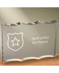 Cadou personalizat trofeu plexiglas ondulat - Politist | Ghizbi.ro