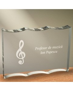 Cadou personalizat trofeu plexiglas ondulat - Profesor de muzica | Ghizbi.ro