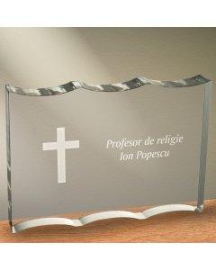 Cadou personalizat trofeu plexiglas ondulat - Profesor de religie   Ghizbi.ro