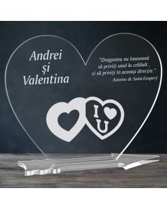 Cadou personalizat placheta plexiglas inima - Te iubesc | Ghizbi.ro